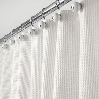 mdesign extra long waffle weave fabric shower curtain 72 x 96 stone white
