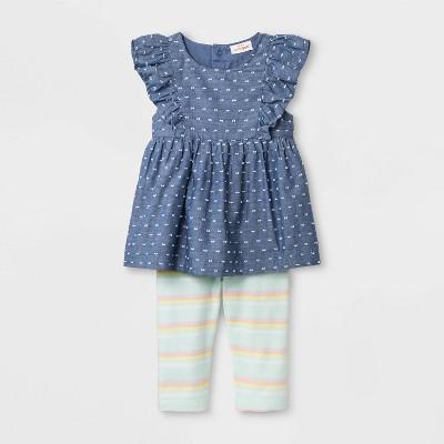 Baby Girls' Faux Denim Tunic and Stripe Leggings - Cat & Jack™ Blue/Green
