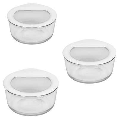 Pyrex 2 Cup 6pc Value Pack No Leak Glass Lids Food Storage Containers White