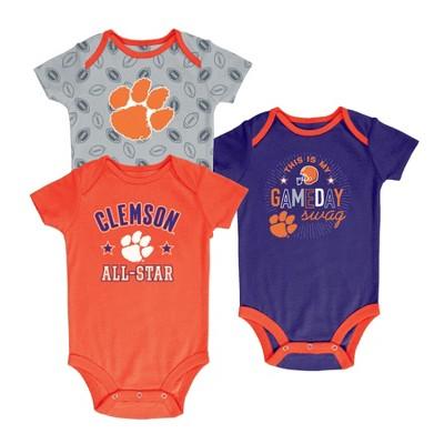 Clemson Tigers Baby Boy Short Sleeve 3pk Bodysuit