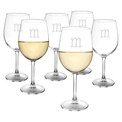 Cathy's Concepts® Personalized 12 oz. White Wine Glasses (Set of 6)-M
