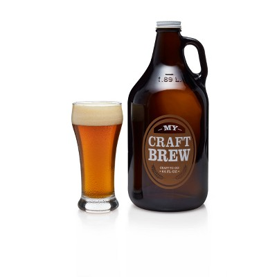 Libbey Craft Brew Glasses 12oz with Glass Growler 64oz and Metal Cap - 5pc Set