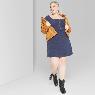 Women's Plus Size Long Sleeve Button Front Knit Dress - Wild Fable™