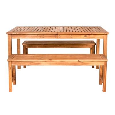 3pc acacia wood simple patio dining set brown saracina home