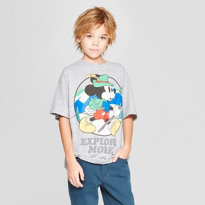 Boys' Disney Mickey Mouse 'Explore More' Short Sleeve Graphic T-Shirt - Gray