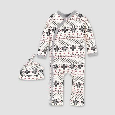 Burt's Bees Baby® Organic Cotton Hand Drawn Fair Isle Kimono Coverall & Hat Set - Ivory
