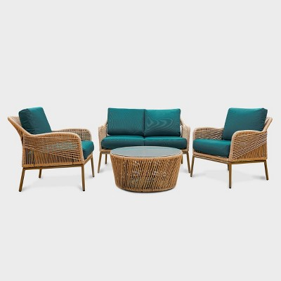 terrell 4pc wicker patio seating set teal leisure made