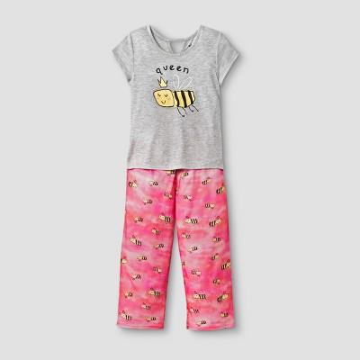 Planet Sleep Girls' Queen Bee 2pc Pajama Set - Gray/Pink