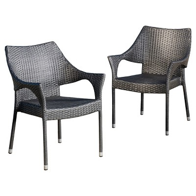 cliff set of 2 wicker patio chairs gray christopher knight home