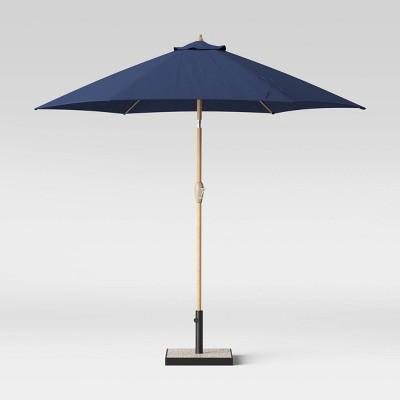 threshold 9 round patio umbrella duraseason fabric navy light wood pole threshold from target accuweather