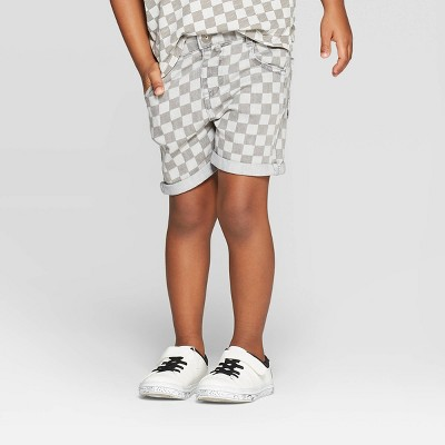 Toddler Boys' Checkered Jean Shorts - art class™ White/Dark Gray