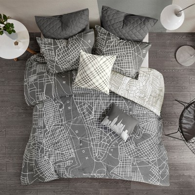 7pc Full/Queen Brooklyn Reversible Cotton Comforter Set Charcoal