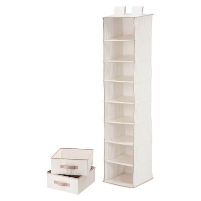 8 Shelf Organizer and 2 Drawers Natural