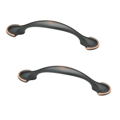 "Liberty Hardware 3"" Half Round Foot Pull - Bronze with Copper Highlights (Set of 2)"