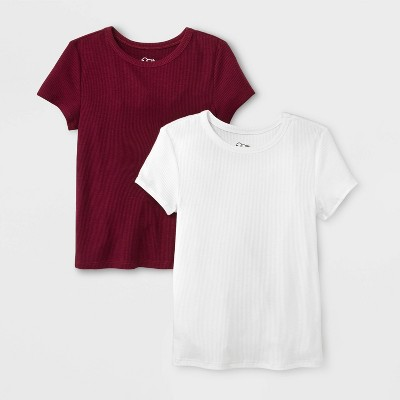 Girls' Short Sleeve Rib Neck 2pk T-Shirt - art class™ White/Burgundy