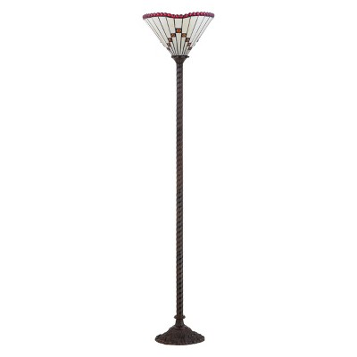 """70.5"""" Smith Tiffany Style Torchiere LED Floor Lamp Bronze (Includes Energy Efficient Light Bulb) - JONATHAN Y"""