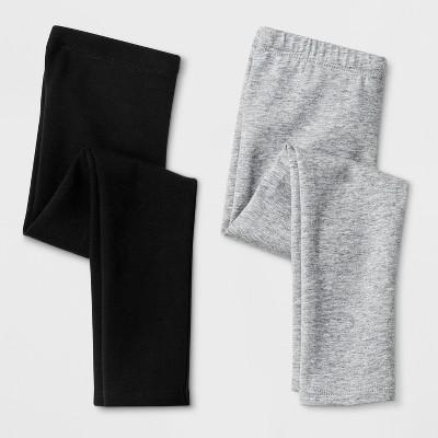 Toddler Girls' 2pk Leggings - Cat & Jack™ Black & Gray