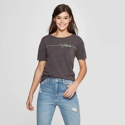 Women's Short Sleeve Crewneck Weekends Graphic T-Shirt - Fifth Sun (Juniors') - Black