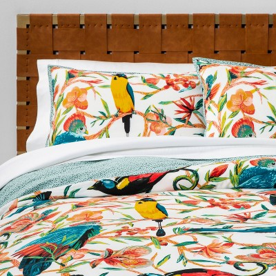 Aviary Print Duvet Cover & Pillow Sham Set Aqua - Opalhouse™