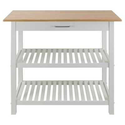 kitchen island cart target wooden plate rack cabinet with solid wood top white flora home