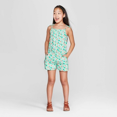 Girls' Woven Romper - Cat & Jack™ Green