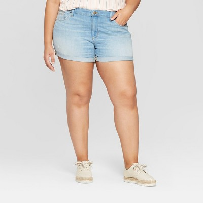 Women's Plus Size Roll Cuff Jean Midi Jean Shorts - Universal Thread™ Medium Wash