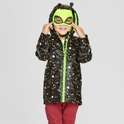 Toddler Boys' Monster Rain Jacket - Cat & Jack™ Black