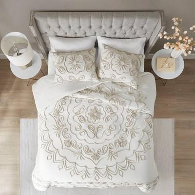 full queen valeria cotton chenille duvet cover set ivory taupe