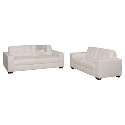 2pc Tufted Seat & Backrest Bonded Leather Sofa Set - CorLiving