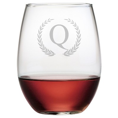 Susquehanna 21oz Glass Wreath Monogram Stemless Wine Glasses - Q - Set of 4