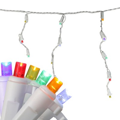 Brite Star 60ct Wide Angle LED Twinkling Icicle String Lights Multi-Color - 8.5' White Wire