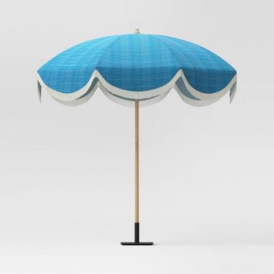 7 2 round fringed patio umbrella teal opalhouse