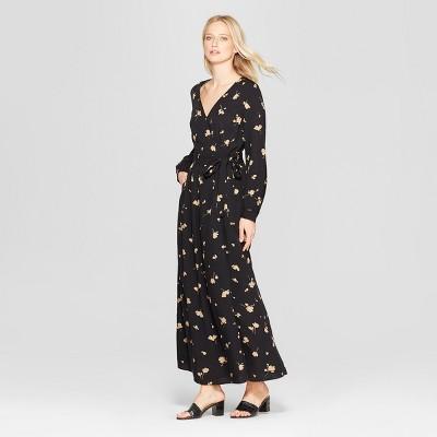 Women's Floral Print Long Sleeve Maxi Wrap Dress - Who What Wear™ Black