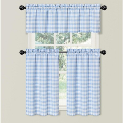 kate aurora living country farmhouse blue plaid gingham 3 pc kitchen curtain tier valance set 56 in w x 36 in l