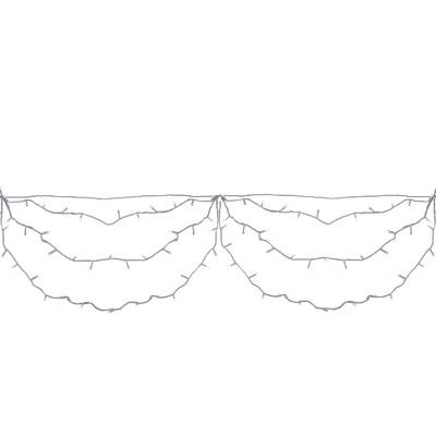 Brite Star 150ct Mini LED Swag String Lights Blue/White - 9' White Wire