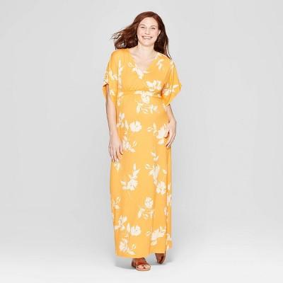 Maternity Floral Kimono Sleeve Maxi Dress - Isabel Maternity by Ingrid & Isabel™ Yellow