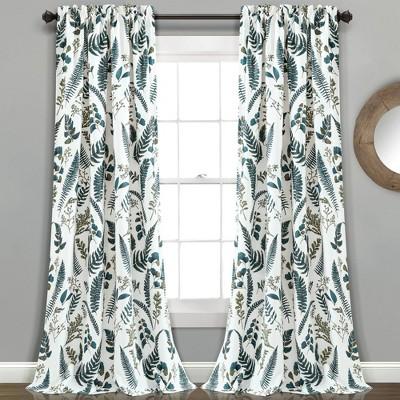 set of 2 84 x52 devonia allover room darkening window curtain panels blue green lush decor