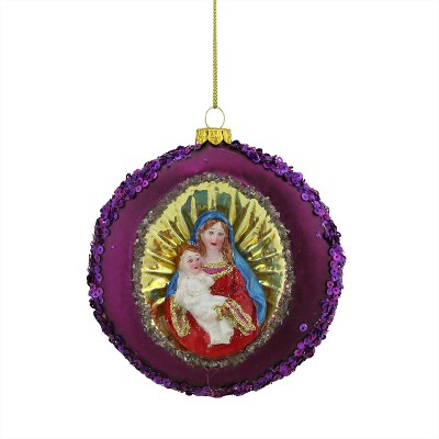 """NORTHLIGHT 4"""" Mary and Baby Jesus Sequin Religious Glass Disc Christmas Ornament - Pink/Gold"""