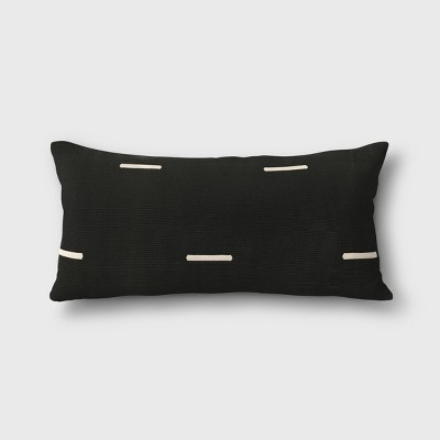 woven stripe outdoor lumbar decorative pillow black project 62
