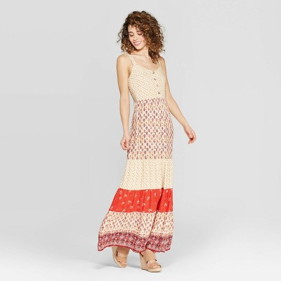 Women's Printed V-Neck Strappy Button Front Tiered Maxi Dress - Xhilaration™ Red/Beige
