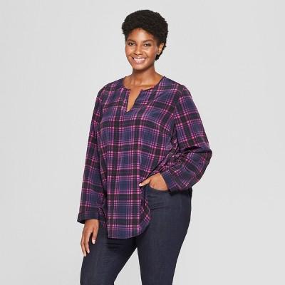 Women's Plus Size Plaid Long Sleeve Woven Popover - Ava & Viv™ Navy