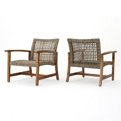 hampton 2pk wicker mid century club chairs gray christopher knight home