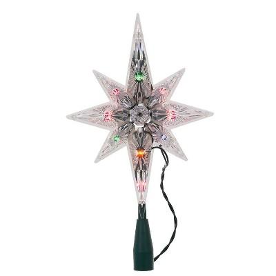 """Kurt S. Adler 10.5"""" Lighted and Faceted Bethlehem Star Christmas Tree Topper - Multi-Color Lights"""
