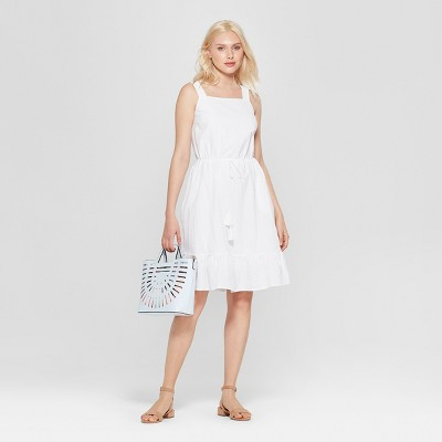 Women's Sleeveless Apron Ruffle Dress - A New Day™ White