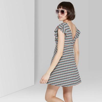 Women's Striped Flutter Short Sleeve Deep V-Neck Knit Dress - Wild Fable™