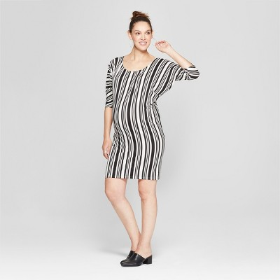 Maternity Striped Batwing Dress - Expected by Lilac - Black
