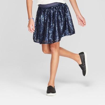 Girls' Sequin Short A Line Skirt - Cat & Jack™ Navy