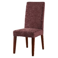 Target Stretch Chair Covers And Half Sleeper Jacquard Damask Short Dining Room Cover Raisin Sure Fit
