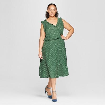 Women's Plus Size Sleeveless Ruffle Detail Wrap Maxi Dress - Who What Wear™