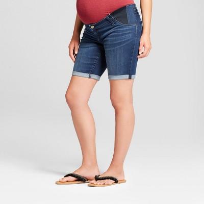 Maternity Inset Panel Bermuda Jean Shorts - Isabel Maternity by Ingrid & Isabel™ Dark Wash
